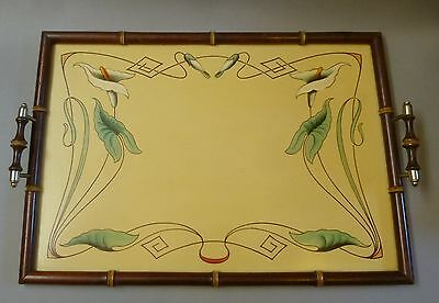 Original Jugendstil Servier Tablett Cocktail Holz um 1900 groß 55cm x 31cm
