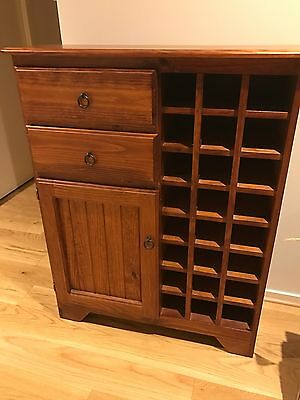 Solid Timber storage  Cabinet wine rack shelves With Drawers