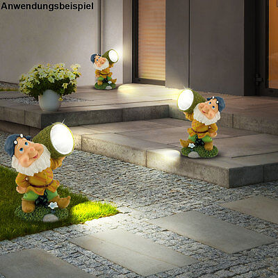 Set of 3 LED Spotlights Solar Garden Spotlight Dwarf Outdoor Figurine Lampsnew
