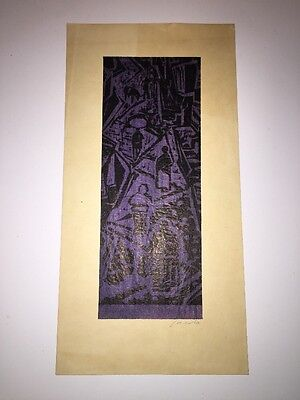 Antique original japanese woodblock print.  Village Abstract - Signed