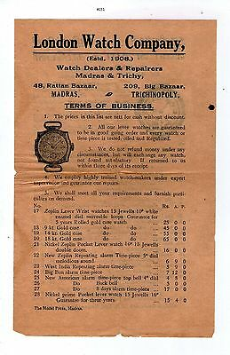India Pricelist London Watch Company, Watch Clock Old Pamphlet