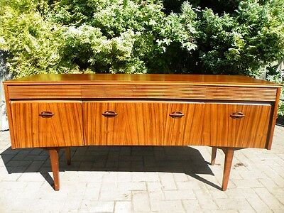 Mid Century Modern 1960 1970 Rosewood Curved Reeded Drawer Credenza Sideboard