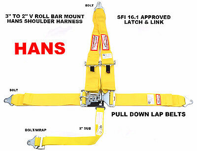 "Hans Racing Harness Sfi 16.1  5 Point V Roll Bar Mount 3"" Latch & Link Yellow"