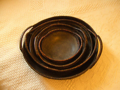 A Good Set Of 4 Graduated Wooden Bowls/baskets With Handles