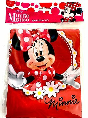 Disney Youth Red Minnie Mouse Flowers Rain Poncho Raincoat Keep Dry