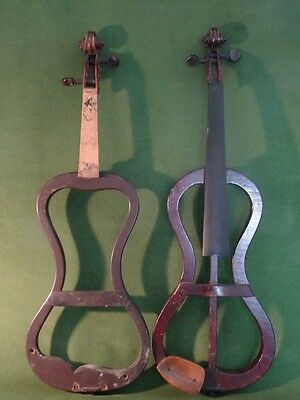 Two Interesting Old Mute Violins Circa 1890