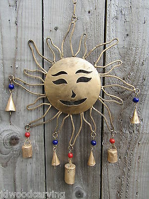 Fair Trade Hand Made Large Indian Metal Sun Garden Bells Wind Chime Mobile