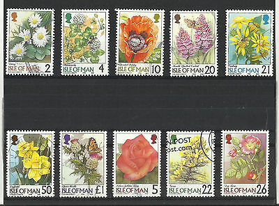 Flower stamps - Isle of Man - used - 1998-99