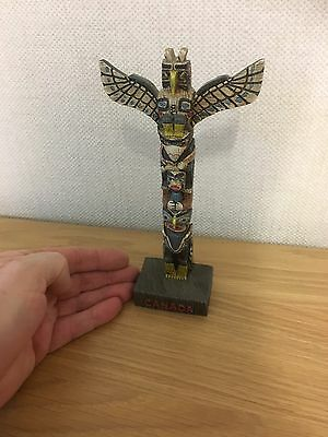 """Lovely Collectable 8"""" Tall CANADIAN Multi Colour Totem Pole Figure"""
