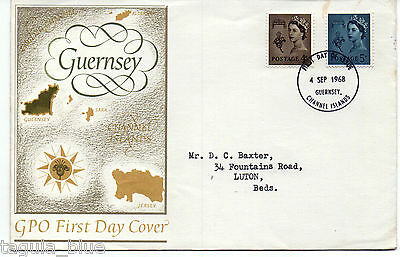 Guernsey 4-9-1968 Definitive Issue First Day Cover CHANNEL ISLANDS cds