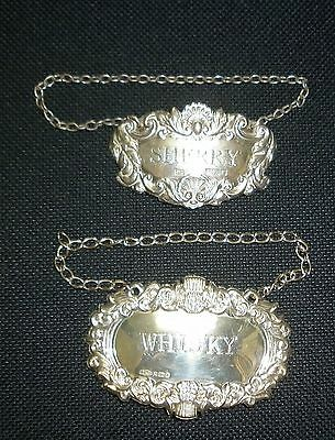 Solid Silver Decanter Labels - Whisky B'ham 1984, Sherry B'ham 1982