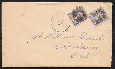1890 OSCEOLA MILLS, WISC., #219x2 2c RATE on CROSS-BORDER COVER TO CANADA