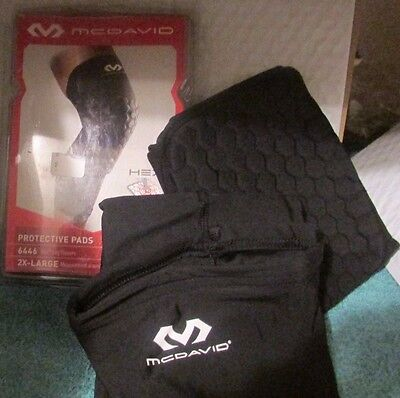 McDavid 6446 Extended Compression Leg Sleeve with Hexpad Protective Pad - One PR