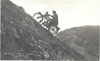 R/P Postcard - Motor Cycling up a Hill in the Lake District (1938)