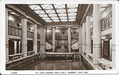 R/P Postcard - 1st Class Swimming Pool on RMS 'Majestic' (White Star Line)