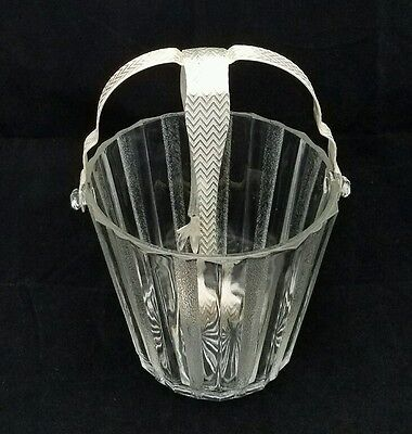 Antique Silver Plate And Depression Glass Ice Bucket With Handle And Tongs.