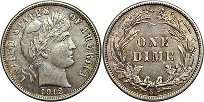 1912-S 10C Barber Dime Almost Uncirculated