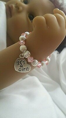 Braclet  for doll clothes accessories for reborn doll NB ~silver/ pink