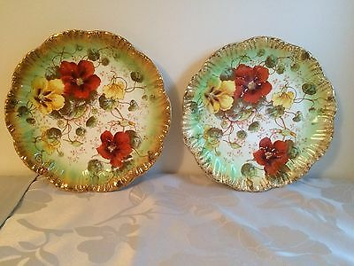 Pair of Antique Nasturtium Wall Plates by Barkers & Kent, Foley Pottery Fenton