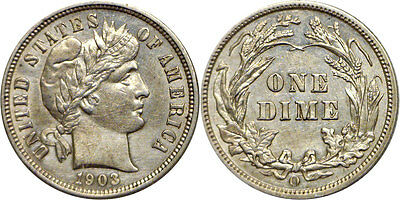 1903-O 10C Barber Dime Almost Uncirculated Details