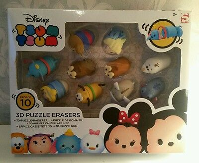 Disney Tsum Tsum 3D Puzzle Erasers Pack of 10