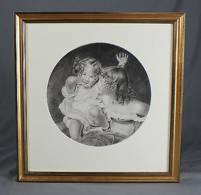 Early 19th Century Pencil Drawing Sketch Portrait Children