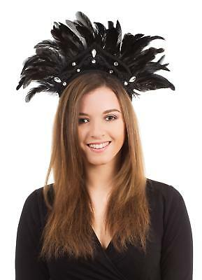 FANCY DRESS Carnival Headdress. Black Feather