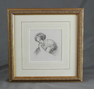 19th Century Pencil Drawing Sketch Study Portrait Attractive Young Lady