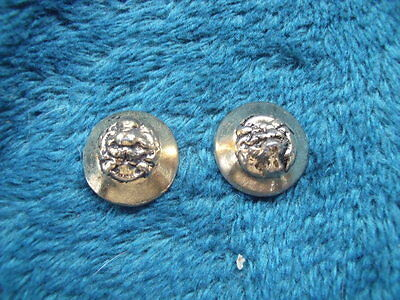Two Unusual Vintage Metal  Lion's Head Buttons