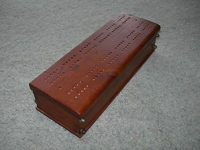 VINTAGE WOODEN CRIBBAGE BOX  ~ With Poker Dice and Normal Dice ~ Card Storage