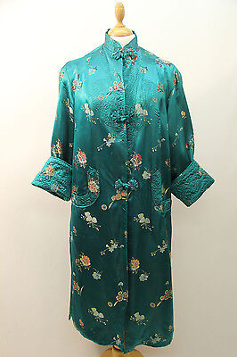 Original 1940s Green Silk Satin Chinese Robe