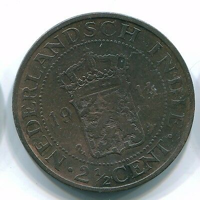1914 2 1/2 Cent Netherlands Indies  Bronze Colonial Coin S12079
