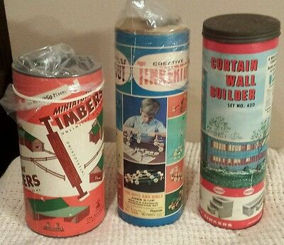 3 Vintage Original Tinkertoy  No.146 620 Curtain wall Builder Miniature Timbers