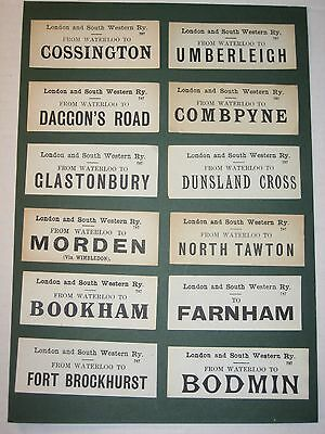 12 London and South Western Railway Luggage labels (including Farnham)