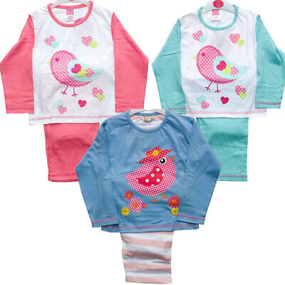 Cozy n Dozy Younger Girls Cute Chick Bird Hearts Spotty Long Pyjamas 2-6yrs