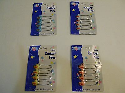 Baby Diaper Safety Pins-- Pink Blue Yellow or White (4) per Pack *NEW