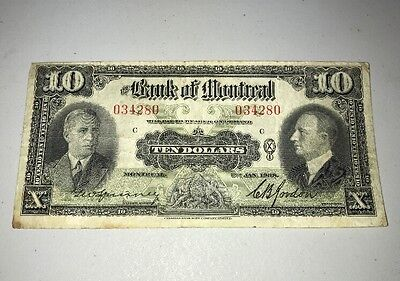 The Bank Of Montreal Small Note $10.00 1938 034280