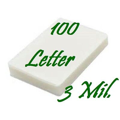 3 Mil 100/PK Letter Size  Laminating Pouches Sheets  9 x 11-1/2  Free Carrier