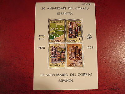 Andorra - 1978 50Th Anniversary - Minisheet - Unmounted Mint - Ex. Condition