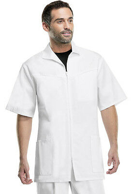 Med-Man Men's Zip Front Jacket in White STYLE 1373 FREE SHIPPING!