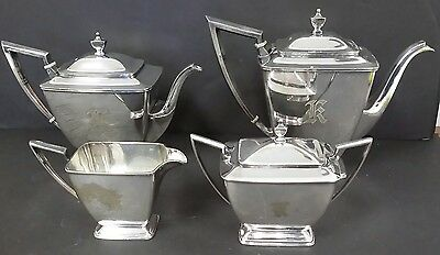 PairPoint ART DECO Silverplate Tea & Coffee Service Set  # 0315 4 Piece Antique
