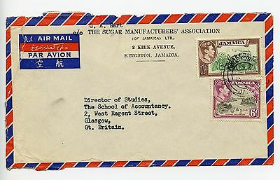Jamaica 1950c commercial cover, Sugar Manufacturers. Kingston to Glasgow (L842)