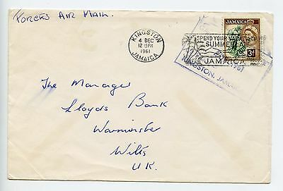 Jamaica 1961 cover Forces Air Mail 3d rate to Lloyds Bank Warminster GB (L841)