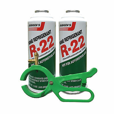 2 Cans R22 R-22 Refrigerant and a 2-In-1 Side Punch Can Tap