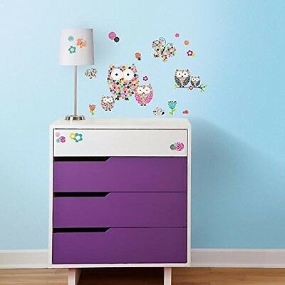 RoomMates RMK2790SCS Prisma Owls and Butterflies Peel and Stick Wall Decals