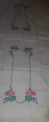 Vintage Hand Stitched Linen Dressing Table cover