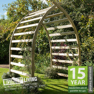 New Wooden Curved Garden Arch Boat Shaped Pergola Archway