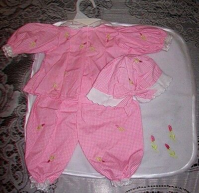 Molly P Orig 4 pc Pink/Wht OF/Blanket fits Ideal Thumbelina, Middleton Dolls NEW
