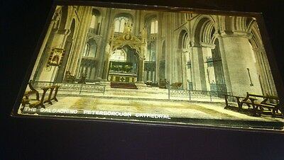 Old postcard the baldatchino peterborough. Cathedral posted 1910 kromo series