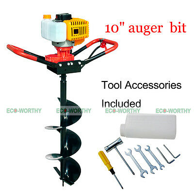 """2.2HP Gas Powered Post Hole Digger W/10"""" Earth Auger Drill Bit 52CC Power Engine"""